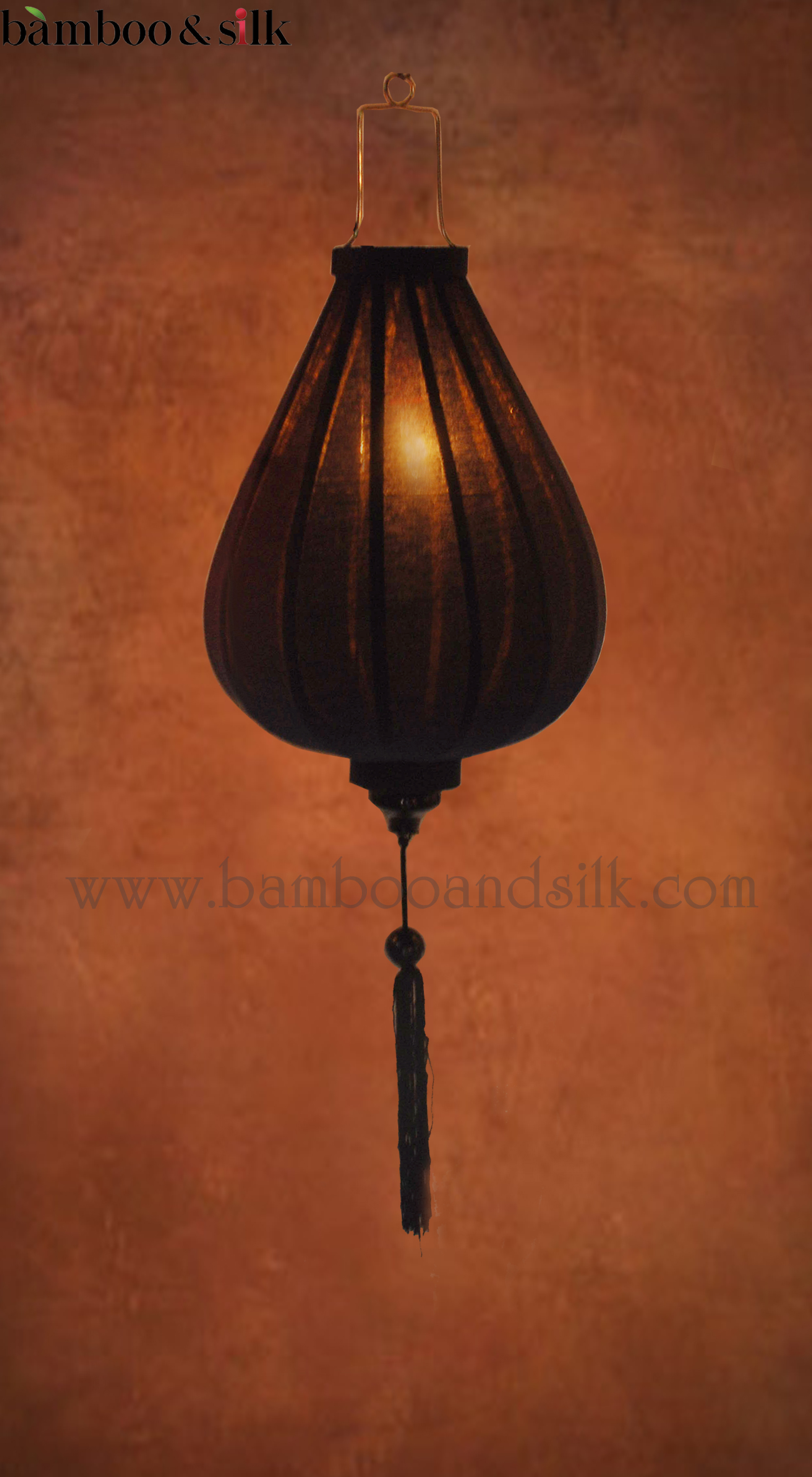 Dark-Blue-Raw-Silk-Lantern-with-Light