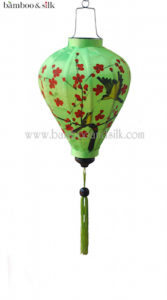 Balloon 35 cm Green H painted Satin Silk (L 35 J 13 HSS)
